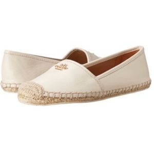 Coach White Leather Rhodelle Espadrille Flats